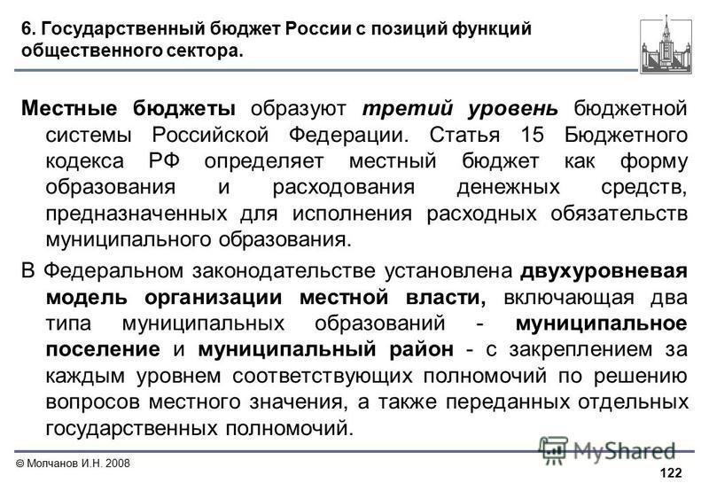 122 Молчанов И.Н. 2008 6. Государственный бюджет России с позиций функций общественного сектора. Местные бюджеты образуют третий уровень бюджетной системы Российской Федерации. Статья 15 Бюджетного кодекса РФ определяет местный бюджет как форму образ
