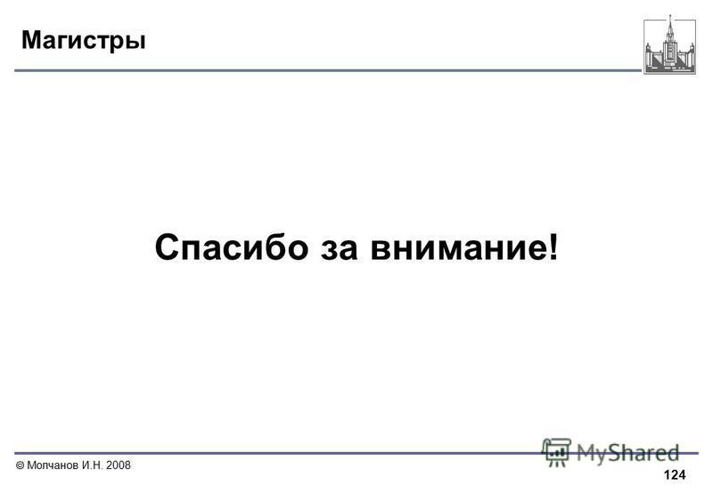 124 Молчанов И.Н. 2008 Магистры Спасибо за внимание!