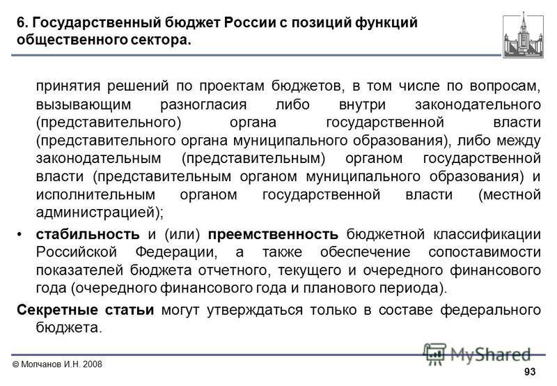 93 Молчанов И.Н. 2008 6. Государственный бюджет России с позиций функций общественного сектора. принятия решений по проектам бюджетов, в том числе по вопросам, вызывающим разногласия либо внутри законодательного (представительного) органа государстве