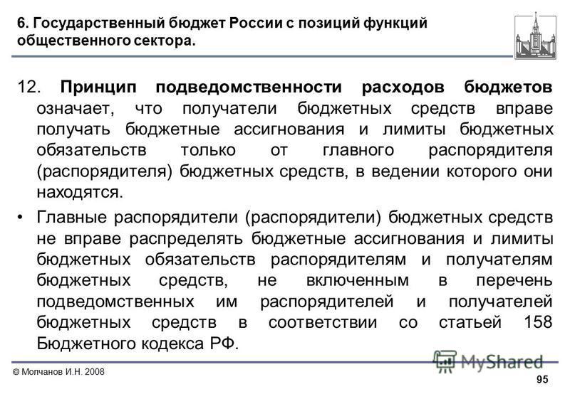 95 Молчанов И.Н. 2008 6. Государственный бюджет России с позиций функций общественного сектора. 12. Принцип подведомственности расходов бюджетов означает, что получатели бюджетных средств вправе получать бюджетные ассигнования и лимиты бюджетных обяз