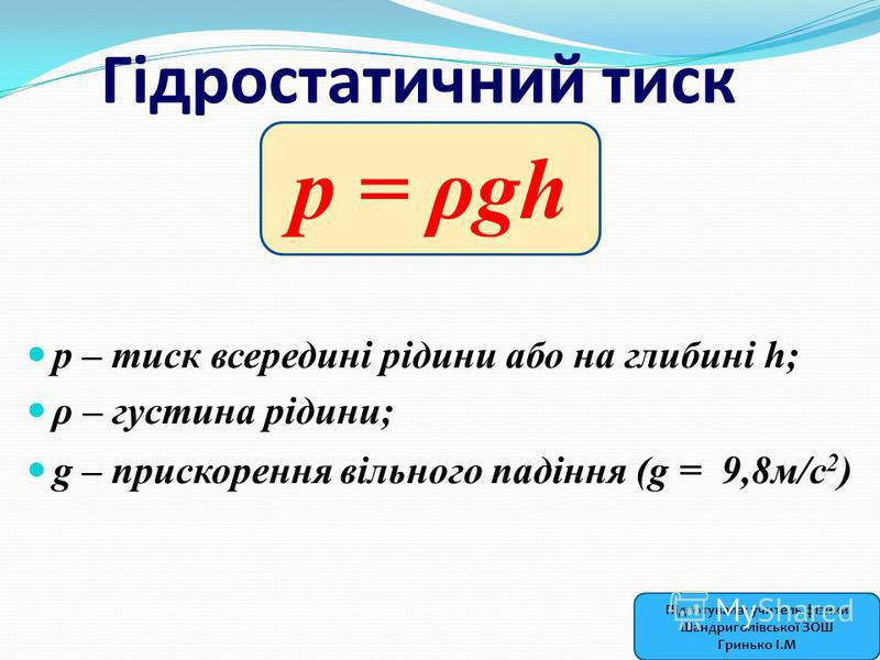 Гідростатичний тиск р – тиск всередині рідини або на глибині h; ρ – густина рідини; g – прискорення вільного падіння (g = 9,8м/с 2 ) p = ρgh Підготувала: учитель фізики Шандриголівської ЗОШ Гринько І.М