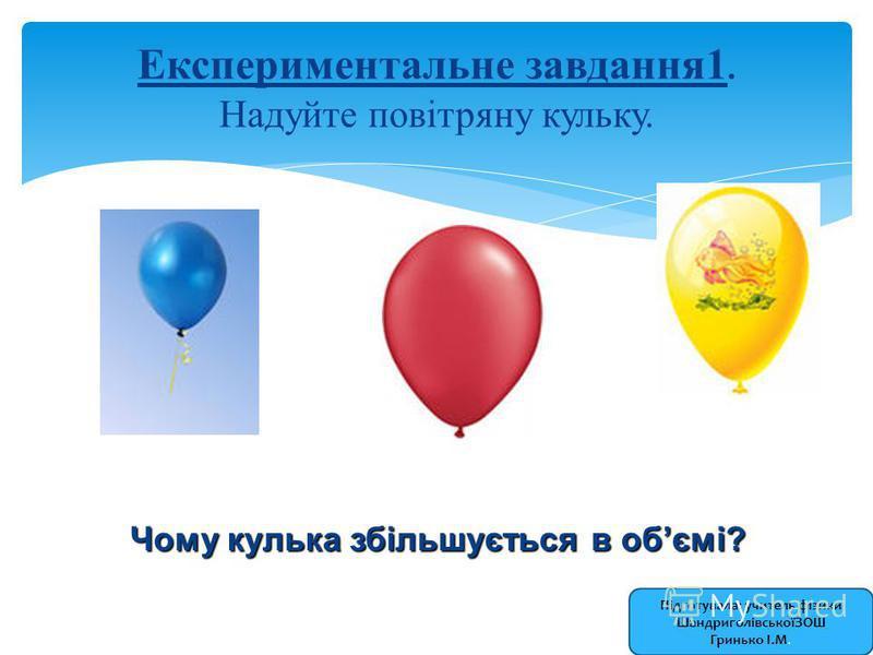 Експериментальне завдання1. Надуйте повітряну кульку. Чому кулька збільшується в обємі? Підготувала: учитель фізики ШандриголівськоїЗОШ Гринько І.М.