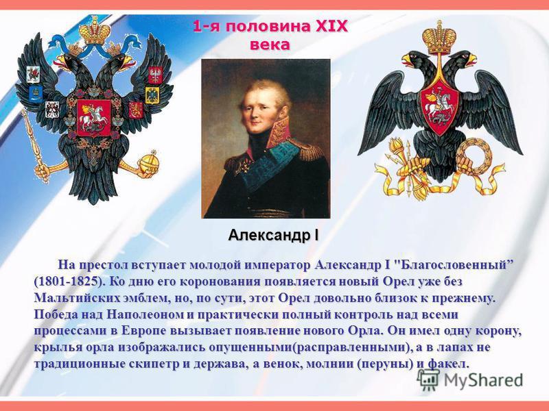 1-я половина XIX века На престол вступает молодой император Александр I