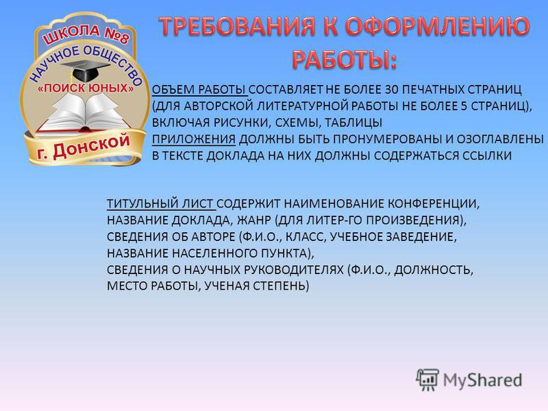 ОБЪЕМ РАБОТЫ СОСТАВЛЯЕТ НЕ БОЛЕЕ 30 ПЕЧАТНЫХ СТРАНИЦ (ДЛЯ АВТОРСКОЙ ЛИТЕРАТУРНОЙ РАБОТЫ НЕ БОЛЕЕ 5 СТРАНИЦ), ВКЛЮЧАЯ РИСУНКИ, СХЕМЫ, ТАБЛИЦЫ ПРИЛОЖЕНИЯ ДОЛЖНЫ БЫТЬ ПРОНУМЕРОВАНЫ И ОЗОГЛАВЛЕНЫ В ТЕКСТЕ ДОКЛАДА НА НИХ ДОЛЖНЫ СОДЕРЖАТЬСЯ ССЫЛКИ ТИТУЛЬНЫ