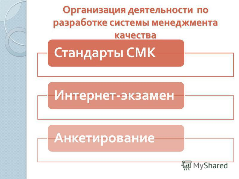 Организация деятельности по разработке системы менеджмента качества Стандарты СМКИнтернет - экзамен Анкетирование