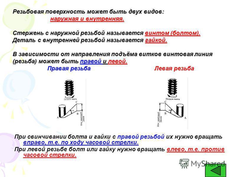 1 Винтовая линия и её параметры НАРЕЗАНИЕМ РЕЗЬБЫ называют образование винтовой линии на поверхности детали путём снятия стружки. Винтовую линию можно представить себе следующим образом: ВС – шаг винтовой линии АС – длина одного витка Угол САВ – угол