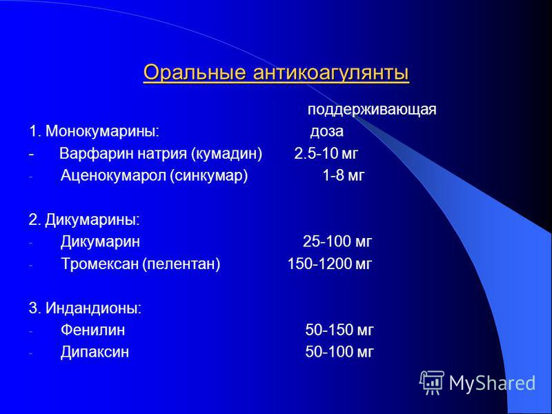 Оральные антикоагулянты поддерживающая 1. Монокумарины: доза - Варфарин натрия (кумадин) 2.5-10 мг - Аценокумарол (синкумар) 1-8 мг 2. Дикумарины: - Дикумарин 25-100 мг - Тромексан (пелентан) 150-1200 мг 3. Индандионы: - Фенилин 50-150 мг - Дипаксин