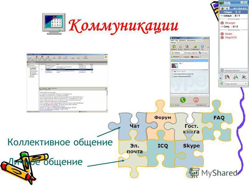 Коммуникации Форум ICQ Гост. книга Skype FAQ Чат Эл. почта Коллективное общение Личное общение
