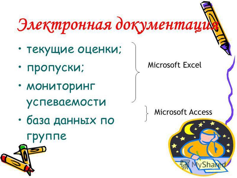 Электронная документация текущие оценки; пропуски; мониторинг успеваемости база данных по группе Microsoft Excel Microsoft Access