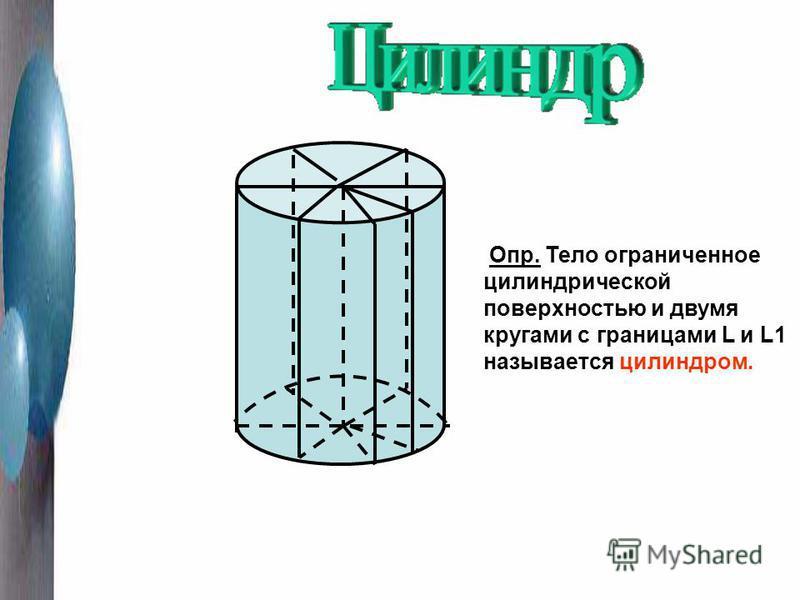 Опр. Тело ограниченное цилиндрической поверхностью и двумя кругами с границами L и L1 называется цилиндром.