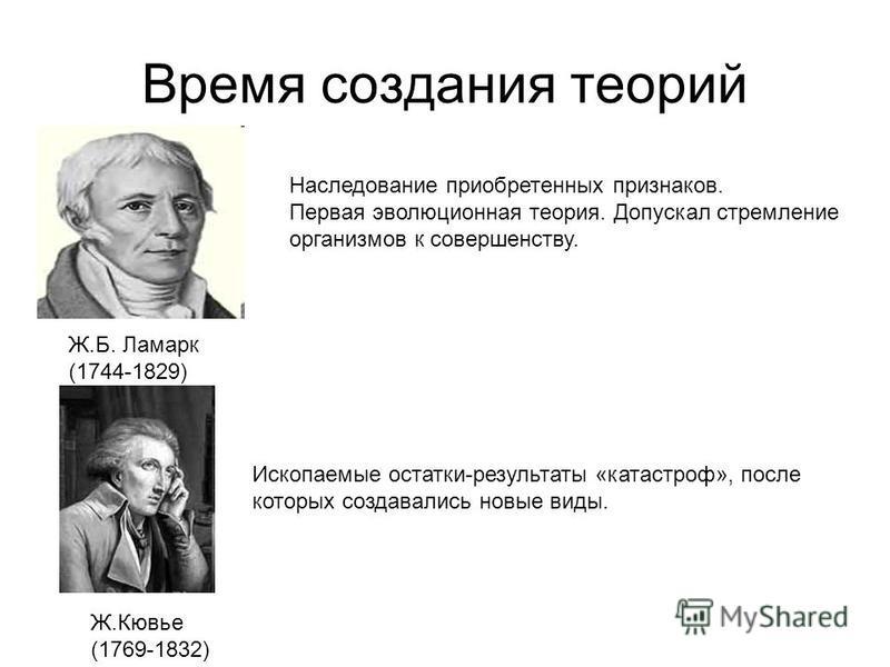 Время создания теорий Ж.Б. Ламарк (1744-1829) Ж.Кювье (1769-1832) Наследование приобретенных признаков. Первая эволюционная теория. Допускал стремление организмов к совершенству. Ископаемые остатки-результаты «катастроф», после которых создавались но