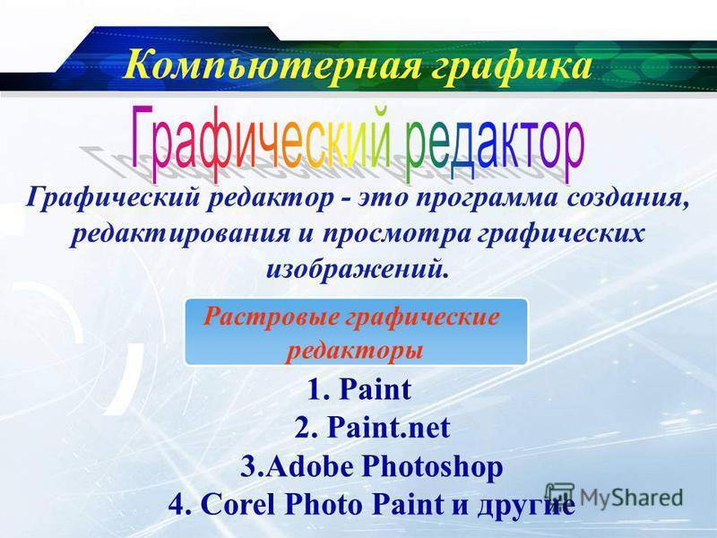 www.themegallery.com Company Logo Компьютерная графика Графический редактор - это программа создания, редактирования и просмотра графических изображений. Растровые графические редакторы 1. Paint 2. Paint.net 3. Adobe Photoshop 4. Corel Photo Paint и
