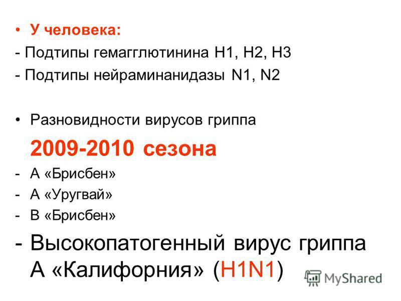 У человека: - Подтипы гемагглютинина Н1, Н2, Н3 - Подтипы нейраминидазы N1, N2 Разновидности вирусов гриппа 2009-2010 сезона -А «Брисбен» -А «Уругвай» -В «Брисбен» -Высокопатогенный вирус гриппа А «Калифорния» (H1N1)