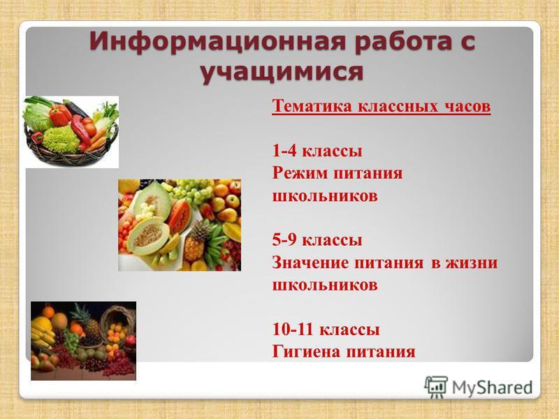 Информационная работа с учащимися Тематика классных часов 1-4 классы Режим питания школьников 5-9 классы Значение питания в жизни школьников 10-11 классы Гигиена питания