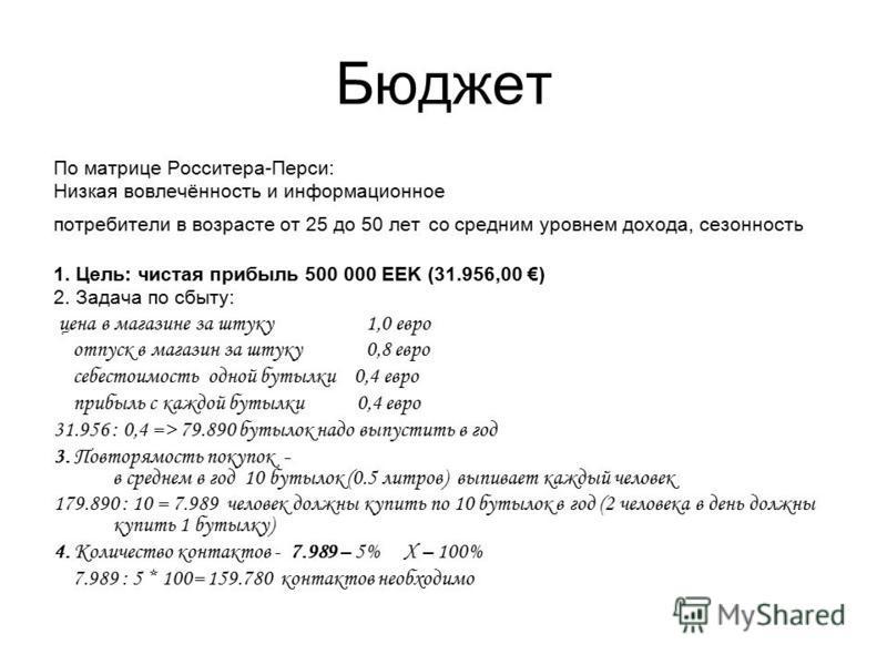 Бюджет По матрице Росситера-Перси: Низкая вовлечённость и информационное потребители в возрасте от 25 до 50 лет со средним уровнем дохода, сезонность 1. Цель: чистая прибыль 500 000 EEK (31.956,00 ) 2. Задача по сбыту: цена в магазине за штуку 1,0 ев