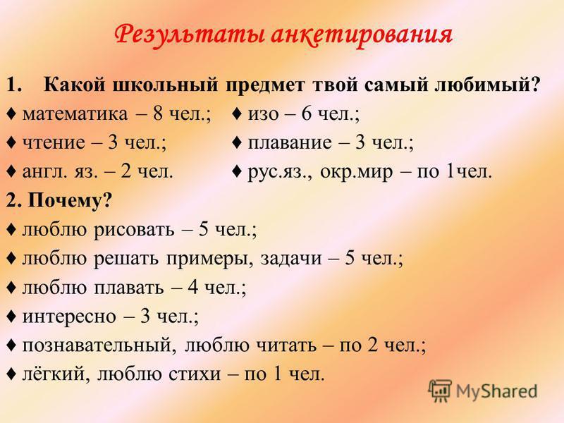 Результаты анкетирования 1. Какой школьный предмет твой самый любимый? математика – 8 чел.; изо – 6 чел.; чтение – 3 чел.; плавание – 3 чел.; англ. яз. – 2 чел. рус.яз., окр.мир – по 1 чел. 2. Почему? люблю рисовать – 5 чел.; люблю решать примеры, за