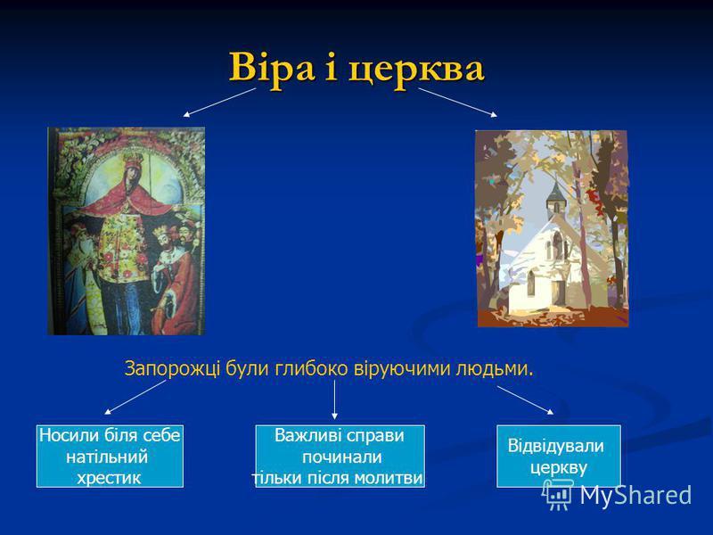 Віра і церква Запорожці були глибоко віруючими людьми. Важливі справи починали тільки після молитви Носили біля себе натільний хрестик Відвідували церкву