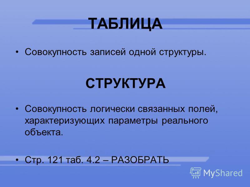 ТАБЛИЦА Совокупность записей одной структуры. СТРУКТУРА Совокупность логически связанных полей, характеризующих параметры реального объекта. Стр. 121 таб. 4.2 – РАЗОБРАТЬ