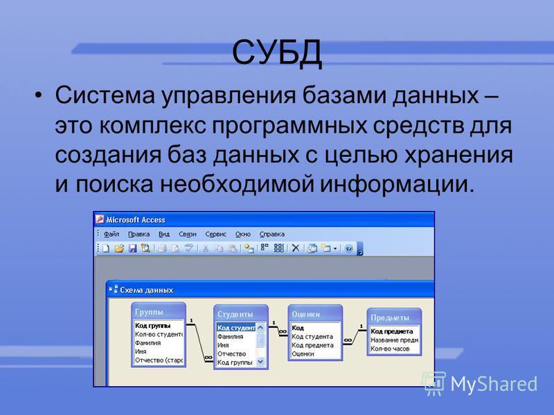 СУБД Система управления базами данных – это комплекс программных средств для создания баз данных с целью хранения и поиска необходимой информации.