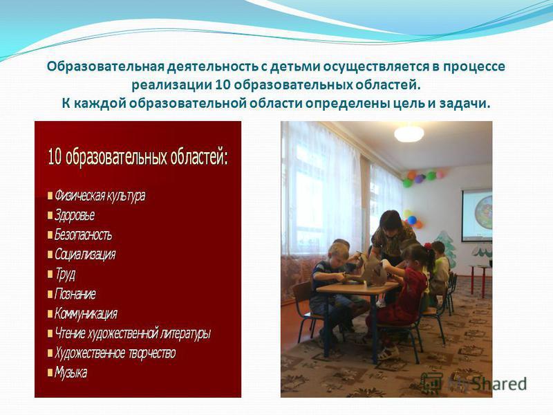 Образовательная деятельность с детьми осуществляется в процессе реализации 10 образовательных областей. К каждой образовательной области определены цель и задачи.