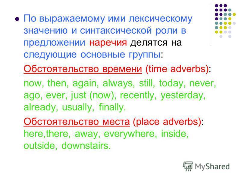 По выражаемому ими лексическому значению и синтаксической роли в предложении наречия делятся на следующие основные группы: Обстоятельство времени (time adverbs): now, then, again, always, still, today, never, ago, ever, just (now), recently, yesterda