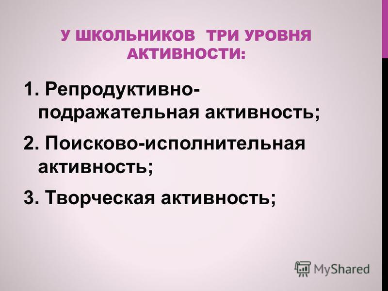 У ШКОЛЬНИКОВ ТРИ УРОВНЯ АКТИВНОСТИ: 1. Репродуктивно- подражательная активность; 2. Поисково-исполнительная активность; 3. Творческая активность;