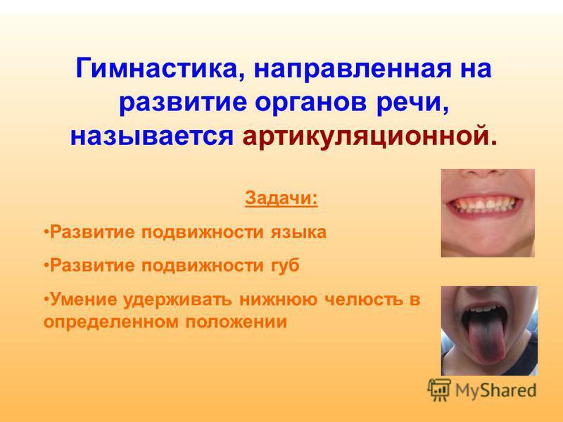 Гимнастика, направленная на развитие органов речи, называется артикуляционной. Задачи: Развитие подвижности языка Развитие подвижности губ Умение удерживать нижнюю челюсть в определенном положении