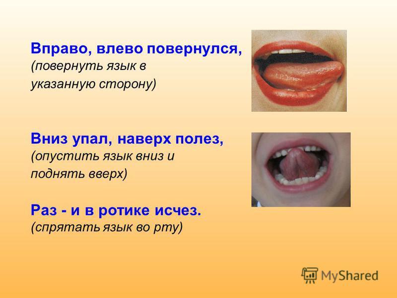 Вправо, влево повернулся, (повернуть язык в указанную сторону) Вниз упал, наверх полез, (опустить язык вниз и поднять вверх) Раз - и в ротике исчез. (спрятать язык во рту)