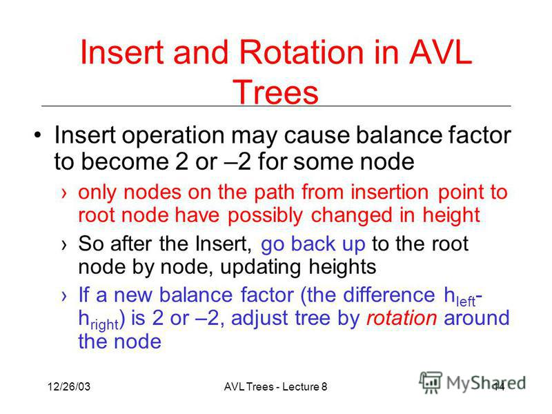12/26/03AVL Trees - Lecture 814 Insert and Rotation in AVL Trees Insert operation may cause balance factor to become 2 or –2 for some node only nodes on the path from insertion point to root node have possibly changed in height So after the Insert, g