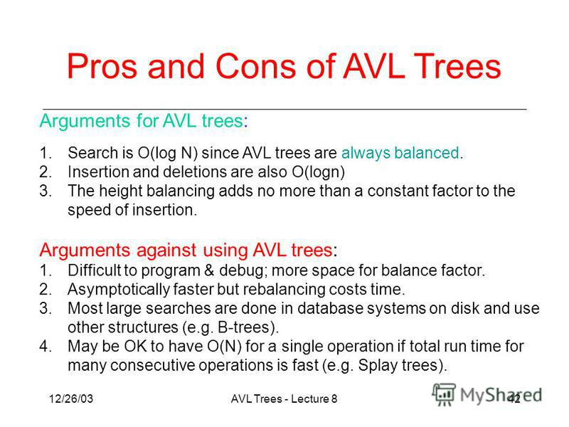 12/26/03AVL Trees - Lecture 842 Arguments for AVL trees: 1.Search is O(log N) since AVL trees are always balanced. 2.Insertion and deletions are also O(logn) 3.The height balancing adds no more than a constant factor to the speed of insertion. Argume
