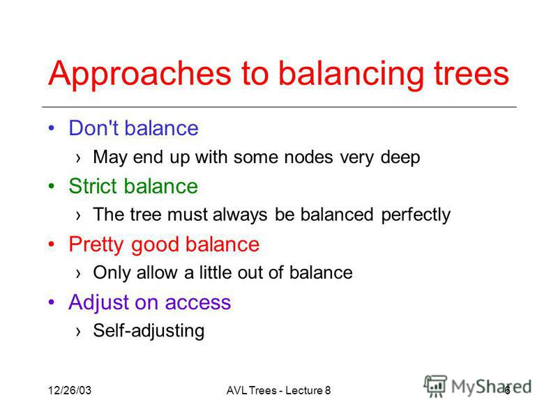 12/26/03AVL Trees - Lecture 86 Approaches to balancing trees Don't balance May end up with some nodes very deep Strict balance The tree must always be balanced perfectly Pretty good balance Only allow a little out of balance Adjust on access Self-adj