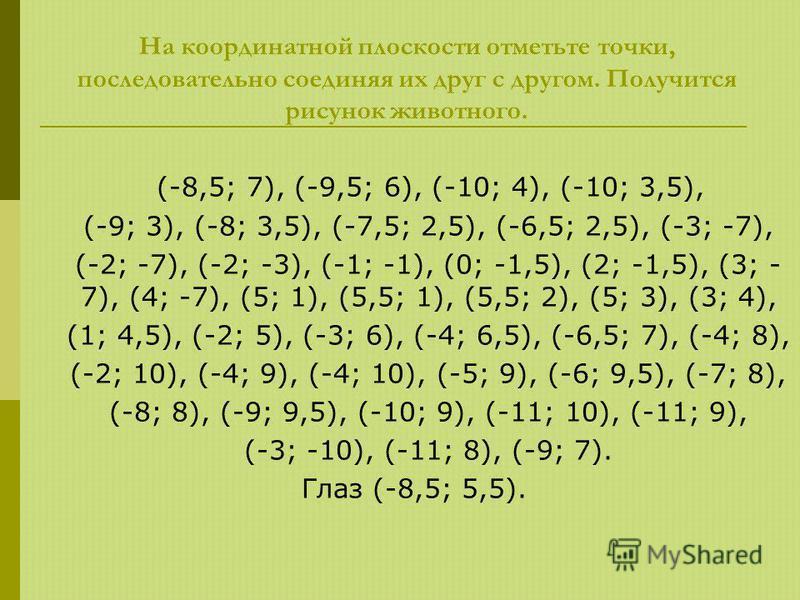 На координатной плоскости отметьте точки, последовательно соединяя их друг с другом. Получится рисунок животного. (-8,5; 7), (-9,5; 6), (-10; 4), (-10; 3,5), (-9; 3), (-8; 3,5), (-7,5; 2,5), (-6,5; 2,5), (-3; -7), (-2; -7), (-2; -3), (-1; -1), (0; -1