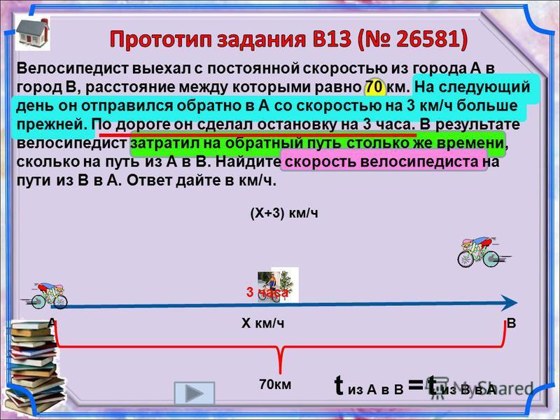 Велосипедист выехал с постоянной скоростью из города А в город В, расстояние между которыми равно 70 км. На следующий день он отправился обратно в А со скоростью на 3 км/ч больше прежней. По дороге он сделал остановку на 3 часа. В результате велосипе