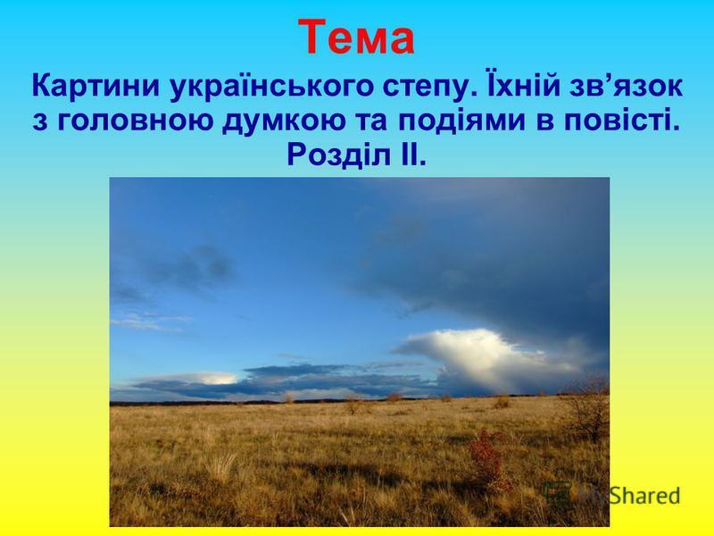 Тема Картини українського степу. Їхній звязок з головною думкою та подіями в повісті. Розділ ІІ.