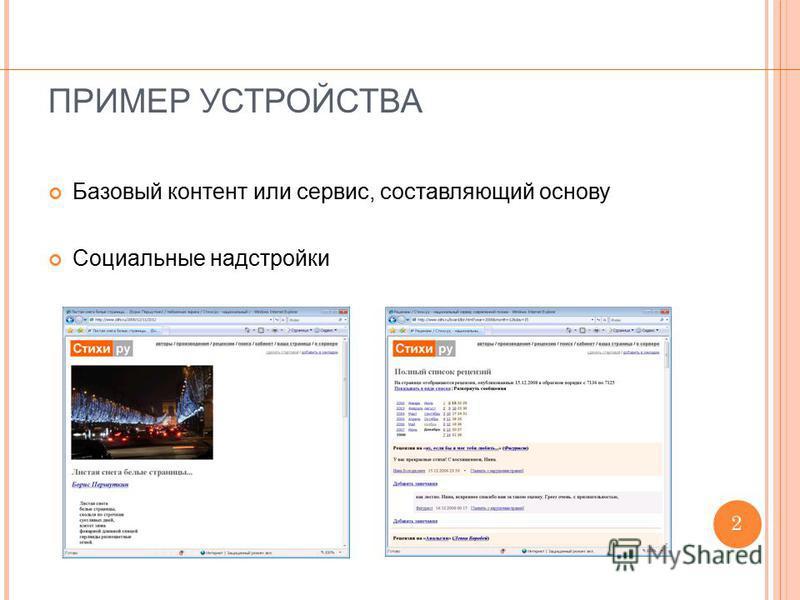 ПРИМЕР УСТРОЙСТВА Базовый контент или сервис, составляющий основу Социальные надстройки 2