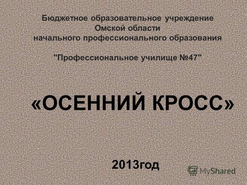 Бюджетное образовательное учреждение Омской области начального профессионального образования Профессиональное училище 47 «ОСЕННИЙ КРОСС» 2013 год