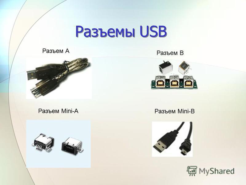 Разъемы USB Разъем А Разъем В Разъем Mini-A Разъем Mini-B
