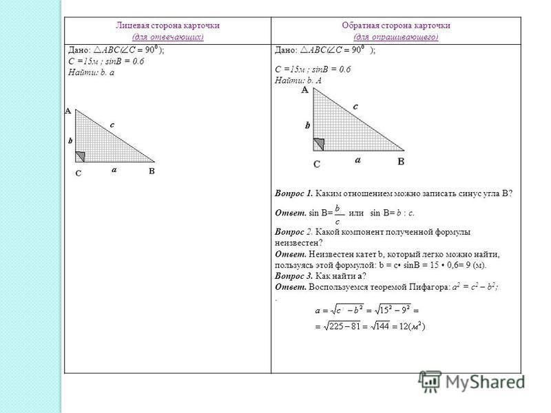 Лицевая сторона карточки (для отвечающих) Обратная сторона карточки (для опрашивающего) Дано: АBC( ); С =15 м ; sinB = 0.6 Найти: b. a Дано: АBC( ); С =15 м ; sinB = 0.6 Найти: b. A Вопрос 1. Каким отношением можно записать синус угла В? Ответ. sin B