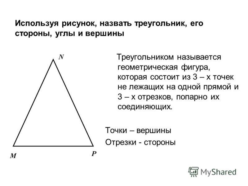 Используя рисунок, назвать треугольник, его стороны, углы и вершины Треугольником называется геометрическая фигура, которая состоит из 3 – х точек не лежащих на одной прямой и 3 – х отрезков, попарно их соединяющих. Точки – вершины Отрезки - стороны