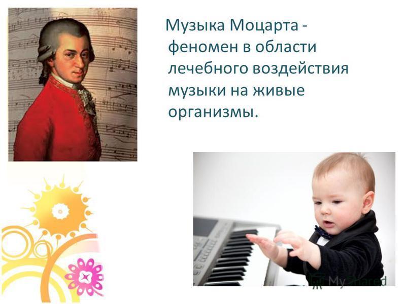 Мyзыка Моцаpта - феномен в области лечебного воздействия музыки на живые организмы.