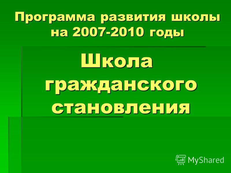 Программа развития школы на 2007-2010 годы Школа гражданского становления
