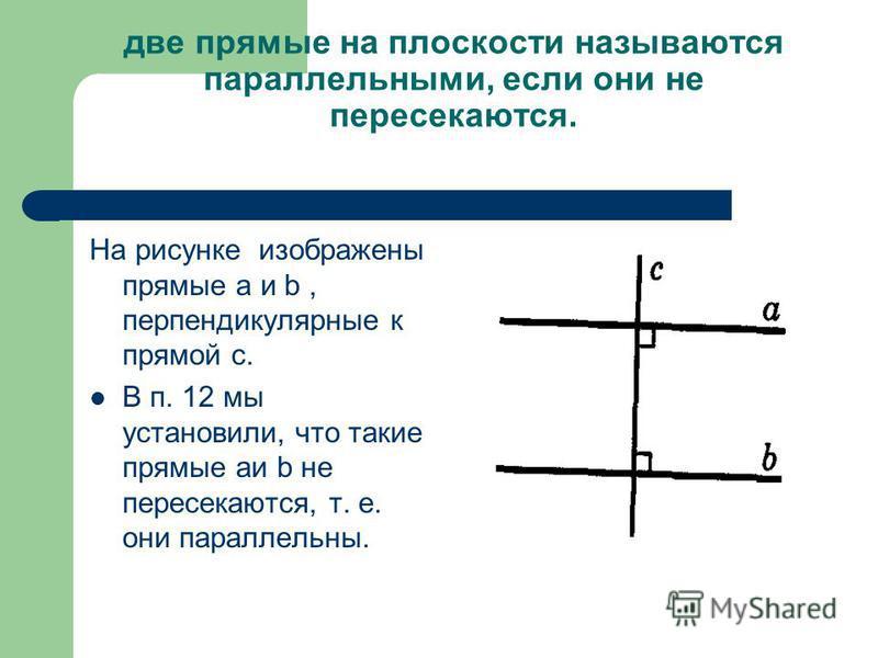 две прямые на плоскости называются параллельными, если они не пересекаются. На рисунке изображены прямые а и b, перпендикулярные к прямой с. В п. 12 мы установили, что такие прямые аи b не пересекаются, т. е. они параллельны.