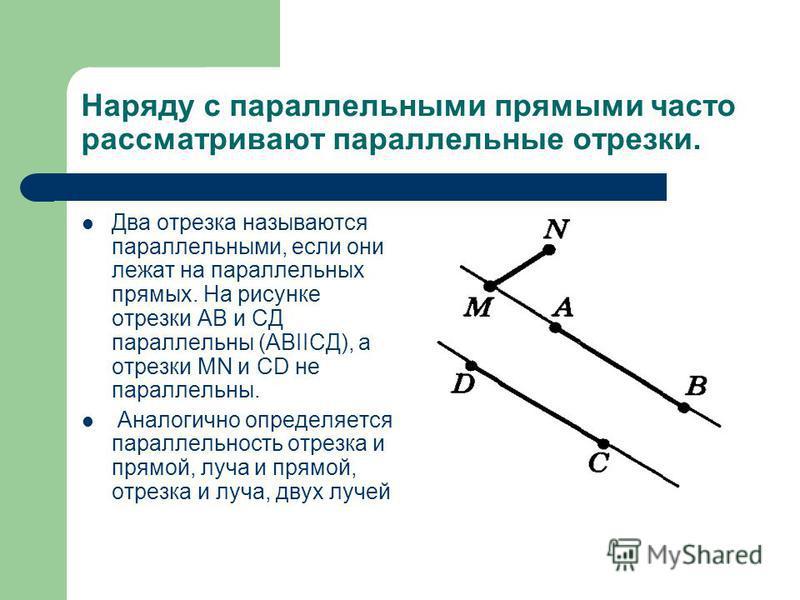 Наряду с параллельными прямыми часто рассматривают параллельные отрезки. Два отрезка называются параллельными, если они лежат на параллельных прямых. На рисунке отрезки АВ и СД параллельны (АВIIСД), а отрезки МN и СD не параллельны. Аналогично опреде