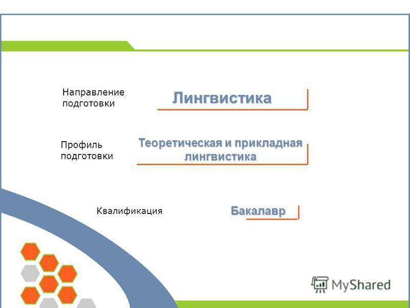 Профиль подготовки Теоретическая и прикладная лингвистика Направление подготовки Квалификация Бакалавр Лингвистика