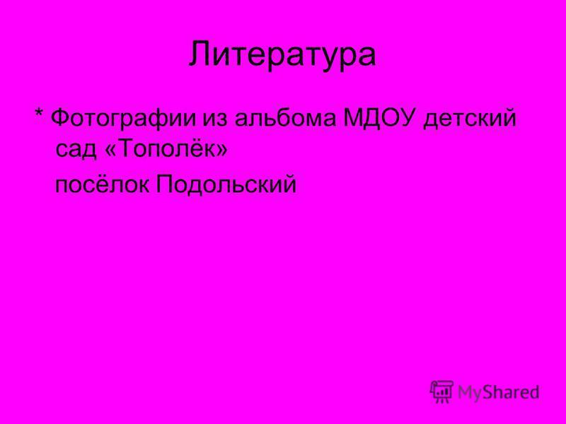 Литература * Фотографии из альбома МДОУ детский сад «Тополёк» посёлок Подольский