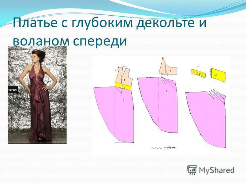Платье с глубоким декольте и воланом спереди