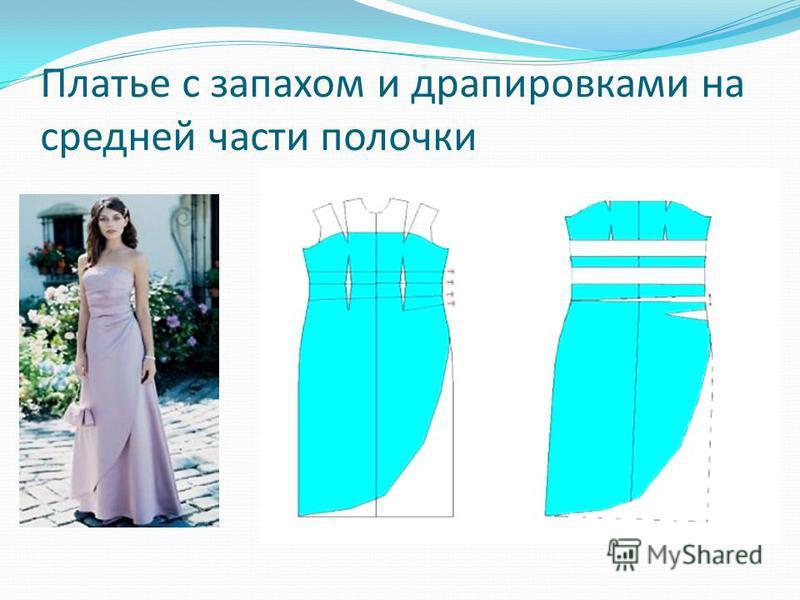 Платье с запахом и драпировками на средней части полочки