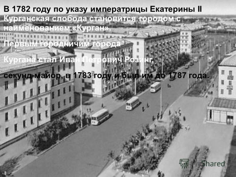 В 1782 году по указу императрицы Екатерины II Курганская слобода становится городом с наименованием «Курган». Первым городничим города Кургана стал Иван Петрович Розинг, секунд-майор, в 1783 году и был им до 1787 года.