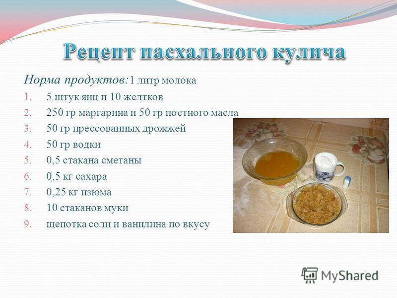 Норма продуктов: 1 литр молока 1. 5 штук яиц и 10 желтков 2. 250 гр маргарина и 50 гр постного масла 3. 50 гр прессованных дрожжей 4. 50 гр водки 5. 0,5 стакана сметаны 6. 0,5 кг сахара 7. 0,25 кг изюма 8. 10 стаканов муки 9. щепотка соли и ванилина