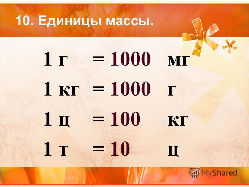 10. Единицы массы. 1 г= 1000 мг 1 кг= 1000 г 1 ц= 100 кг 1 т= 10 ц